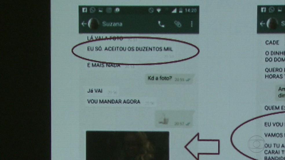 Suposto sequestrador enviou ameaças e foto da mulher (Foto: Reprodução/TV Globo)