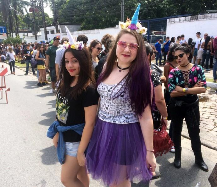 Fãs de Marina chegam ao Lollapalooza com visual de unicórnio (Foto: Carol Caminha/Gshow)