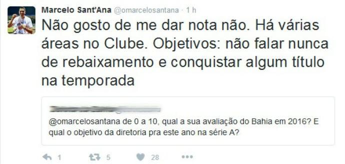 Sant'Ana evita fazer avaliação da gestão em 2016 (Foto: Reprodução / Twitter)