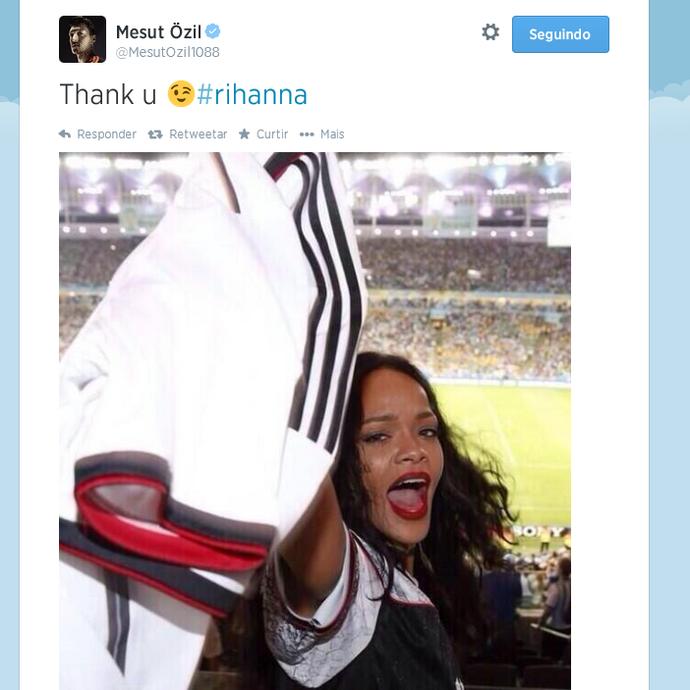 Özil agradece a torcida de Rihanna pela Alemanha na Copa do Mundo (Foto: Reprodução/Twitter)