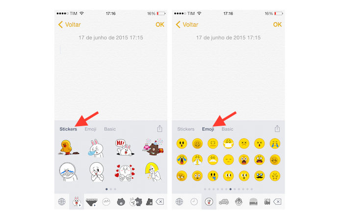 Acessando os stickers e emojis do teclado Emoji Keyboard by LINE no iPhone (Foto: Reprodução/Marvin Costa)