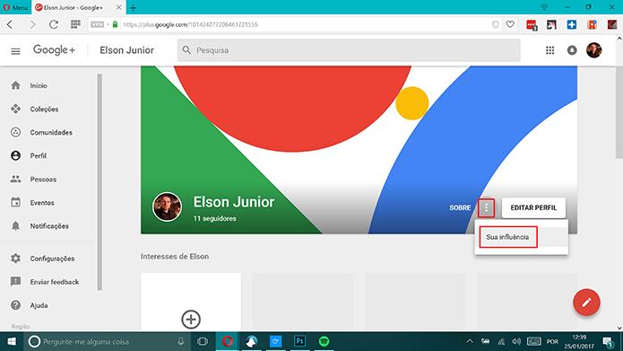 Google Plus tem atalho para estatísticas do perfil na versão web (Foto: Reprodução/Elson de Souza)