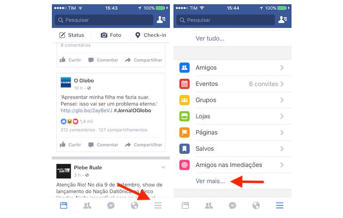 Acessando as opções para seu perfil do Facebook pelo iPhone (Foto: Reprodução/Marvin Costa)
