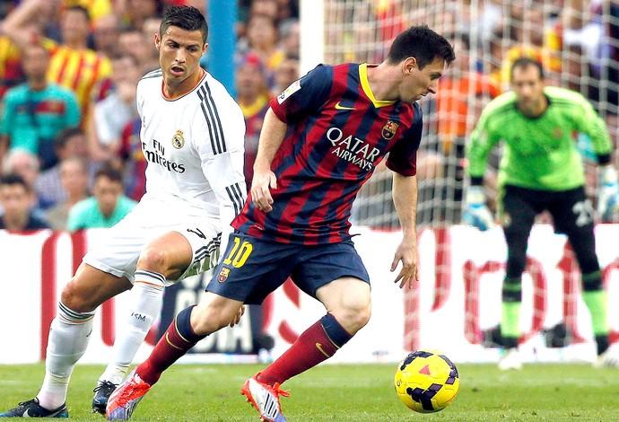 Messi e Cristiano Ronaldo jogo Barcelona x Real Madrid (Foto: Reuters)