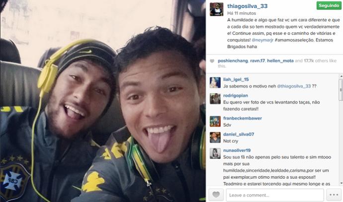 Thiago Silva e Neymar (Foto: Reprodução)