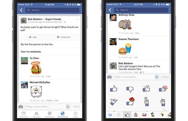 Facebook libera 'stickers' nos comentários. (Foto: Divulgação/Facebook)