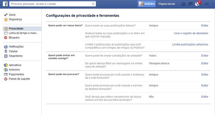 """Vá em """"privacidade"""" no Facebook (Foto: Reprodução/Barbara Mannara)"""