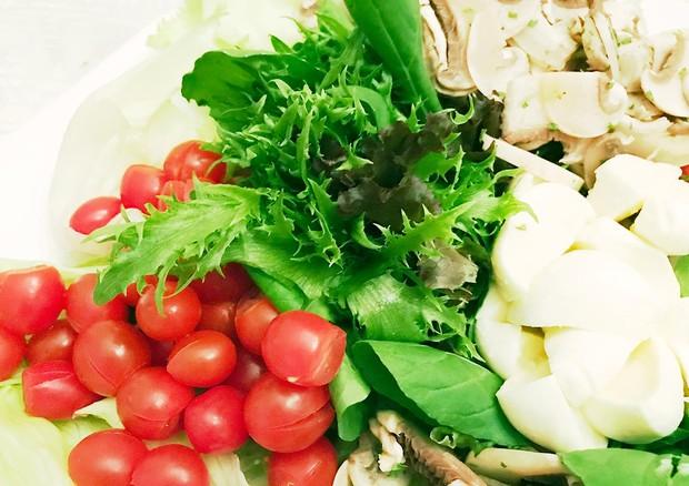 Salada de folhas com tomate, cogumelo e muçarela de búfala (Foto: Divulgação)