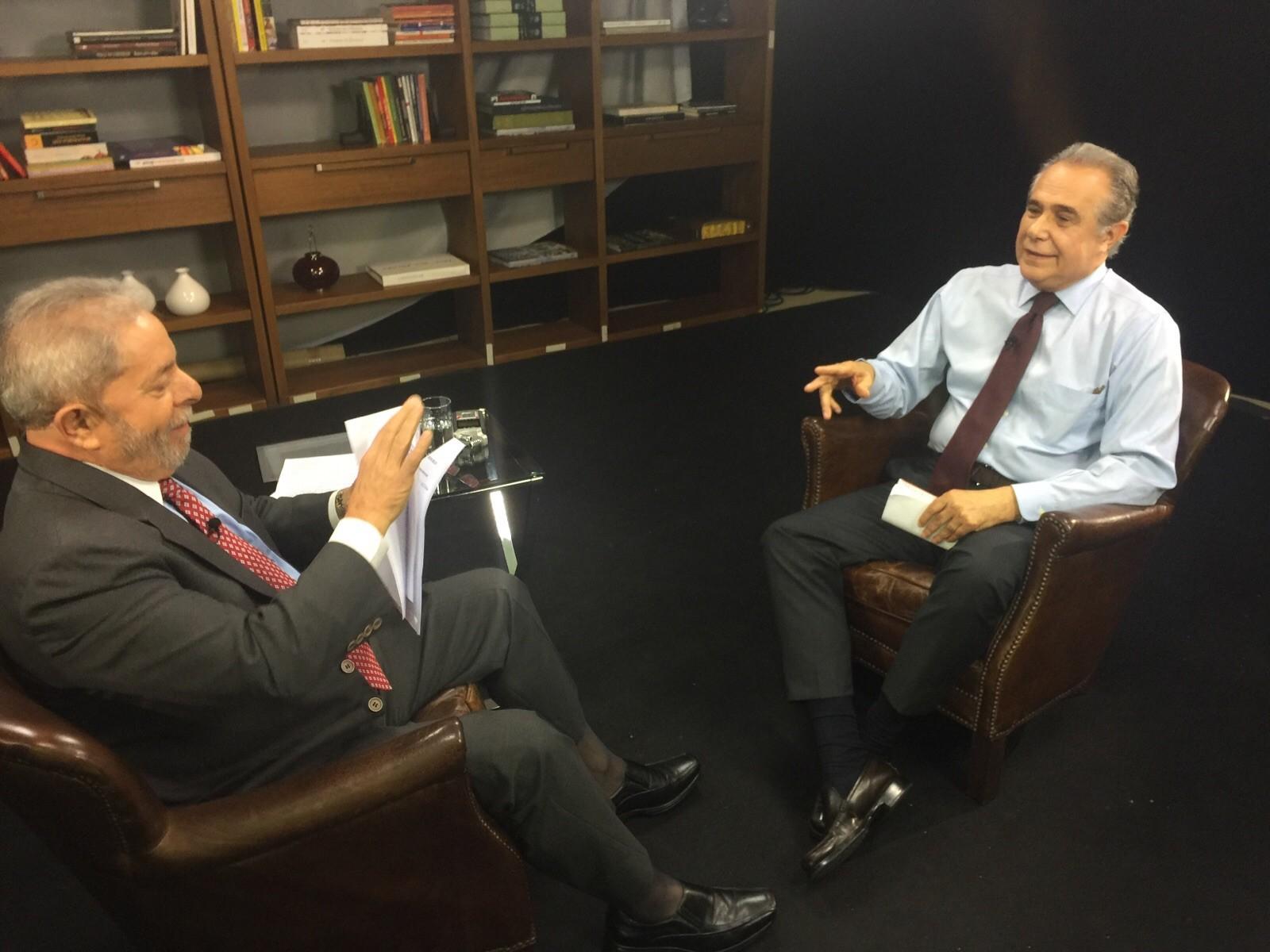 Lula e Roberto D'Avila (Foto: GloboNews)