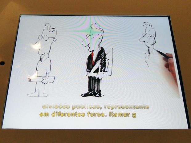Animação mostra o ex-governador e ex-presidente Itamar Franco (Foto: Sara Antunes/G1)