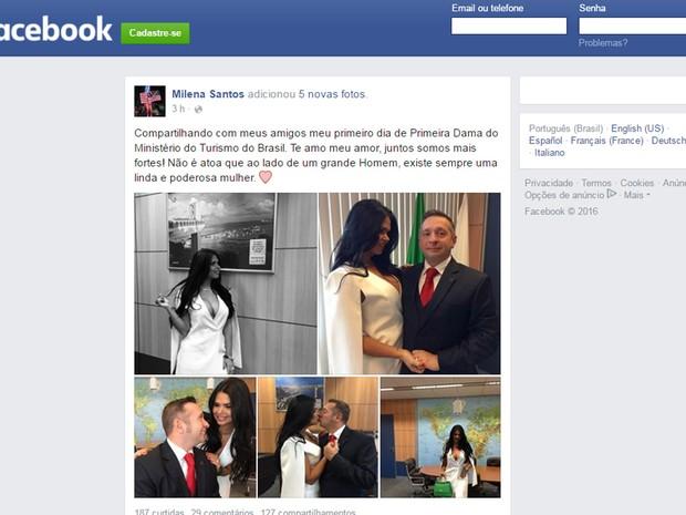 Fotos postadas no Facebook por Milena Santos, mulher do ministro do Turismo, Alessandro Teixeira (Foto: Reprodução/Facebook)