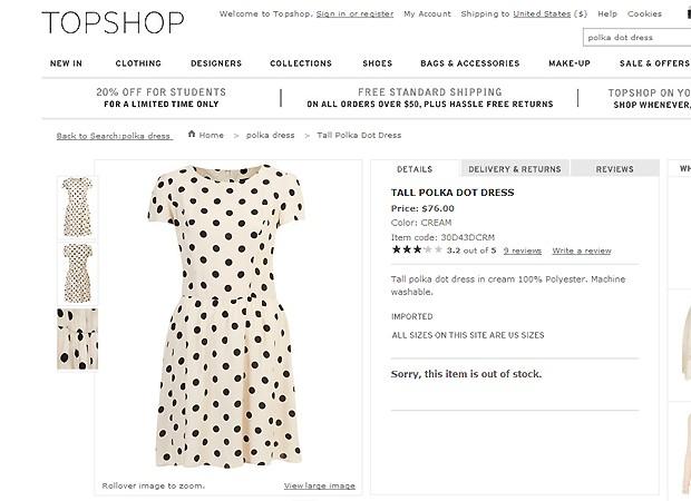 O vestido de Kate é da rede Topshop (Foto: Reprodução)