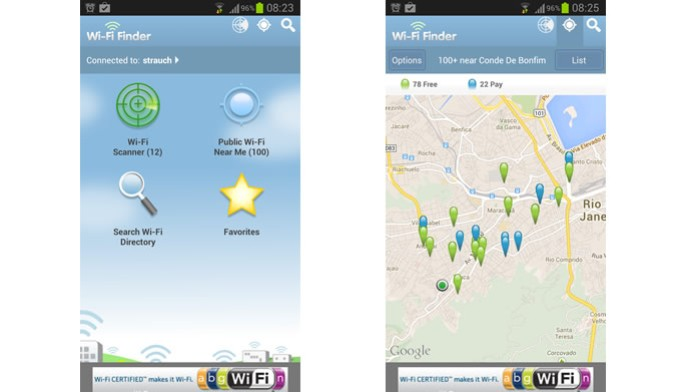 O Wi-Fi Finder exibe a localização de redes wireless gratuitas e ainda avalia a força de seus sinais (Foto: Divulgação/Google Play) (Foto: O Wi-Fi Finder exibe a localização de redes wireless gratuitas e ainda avalia a força de seus sinais (Foto: Divulgação/Google Play))