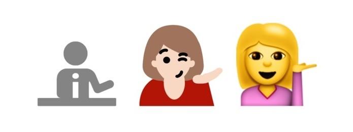 Da esquerda para a direita, emoji de atendente no Windows 8.1, no Windows 10 e no iOS 8.3 (Foto: Reprodução/Emojipedia)