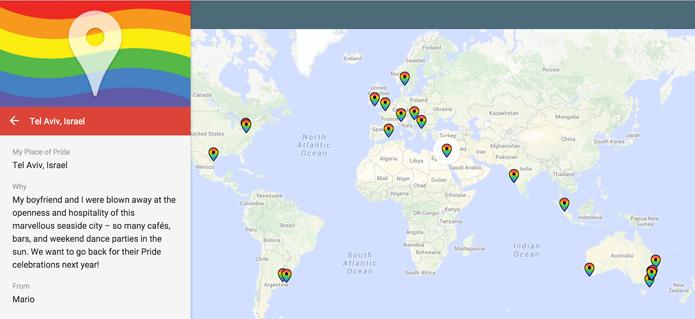 Mapa do Google reúne locais importantes para público LGBT em todo o mundo (Foto: Reprodução/Google)