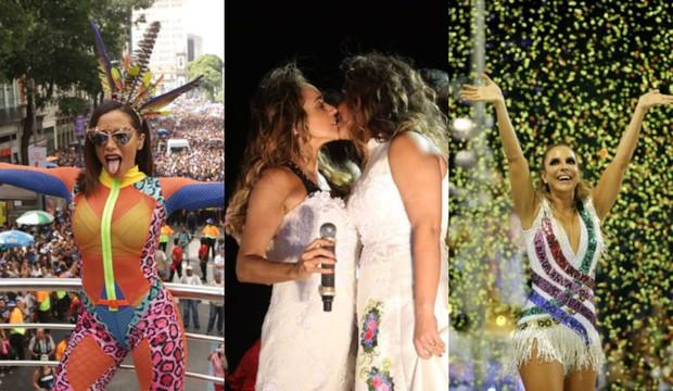 Anitta, Daniela Mercury com a mulher e Ivete Sangalo (Foto: Raphael Mesquita/Brazil News | Alex Yamane /agfpontes/divulgação | Marcos Serra Lima / Ego)