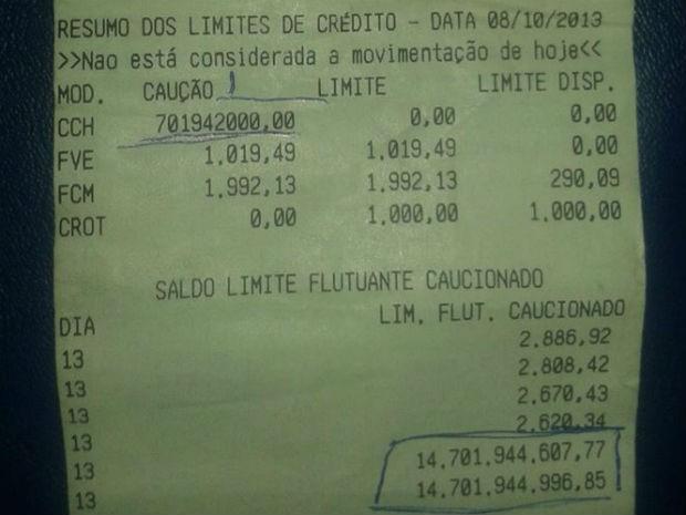 Empresário de Marinhos tirou extrato e viu que tinha R$ 14,7 bilhões na conta (Foto: Isabella Silveira /Vc no G1)
