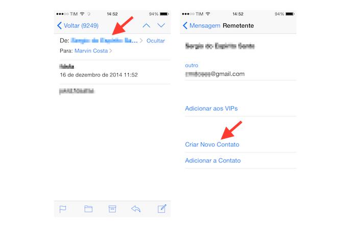 Adicionando um novo contato na agenda do iOS através do Mail (Foto: Reprodução/Marvin Costa)