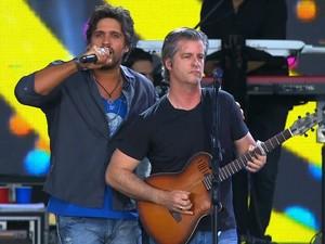 Dupla Victor e Léo é a segunda atração do Festival Villa Mix, em Goiânia, Goiás (Foto: Reprodução/TV Anhanguera)