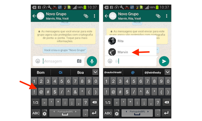 Ação para marcar contatos em uma mensagem do WhatsApp para Android (Foto: Reprodução/Marvin Costa)