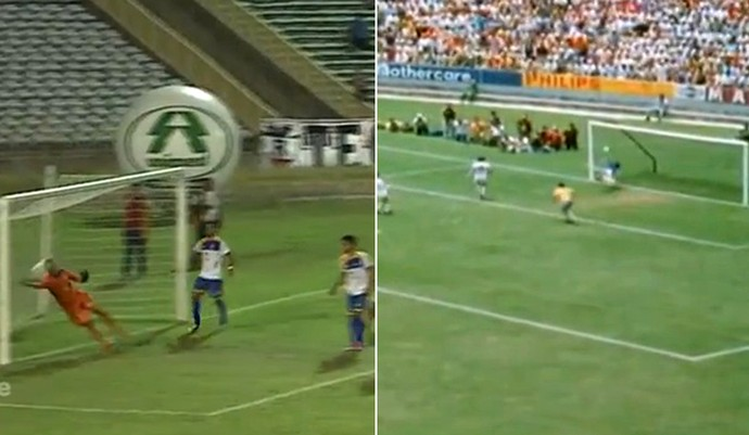 À la Gordon Banks, goleiro do Palmas faz milagre  (Foto: Reprodução )