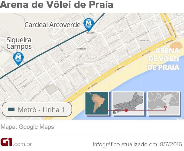 Como chegar à Arena de Vôlei de Praia para a Olimpíada 2016 (Foto: Arte G1 Rio)