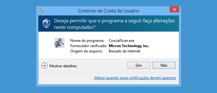 Mensagem de controle de conta de usuário do Windows (Foto: Reprodução/Helito Bijora)