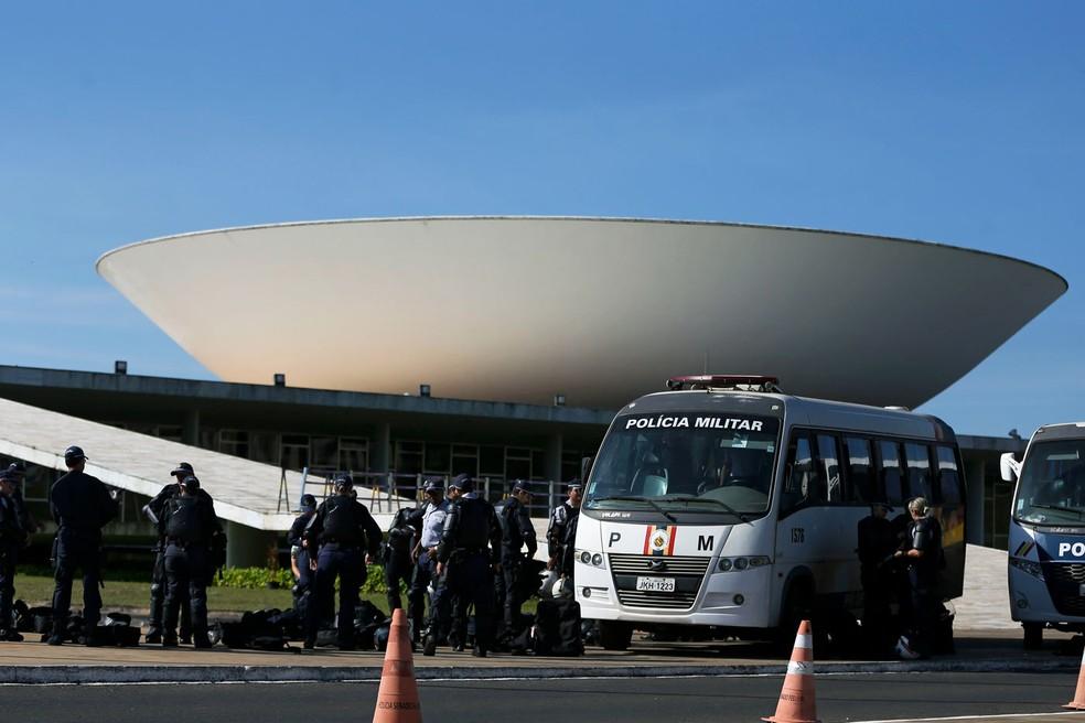 Polícias Militar e Legislativa reforçam a segurança no Congresso Nacional em dia de votação dos destaques da Reforma da Previdência, na comissão especial na Câmara dos Deputados (Foto: Marcelo Camargo/Agência Brasil)