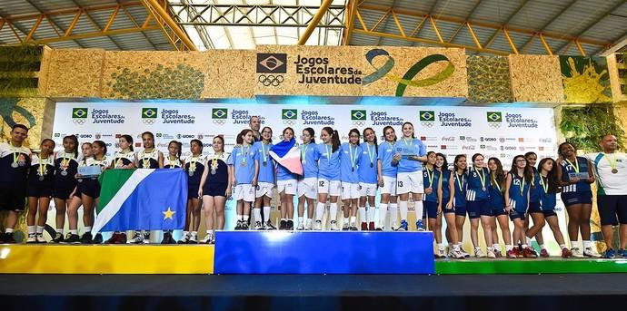 Equipe de Mato Grosso do Sul no pódio dos Jogos Escolares da Juventude (Foto: Wander Roberto/Inovafoto/COB)
