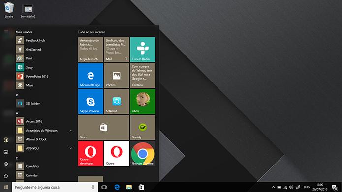 Anniversary Update do Windows 10 será gratuito e trará novo menu Iniciar (Foto: Reprodução/Elson de Souza)