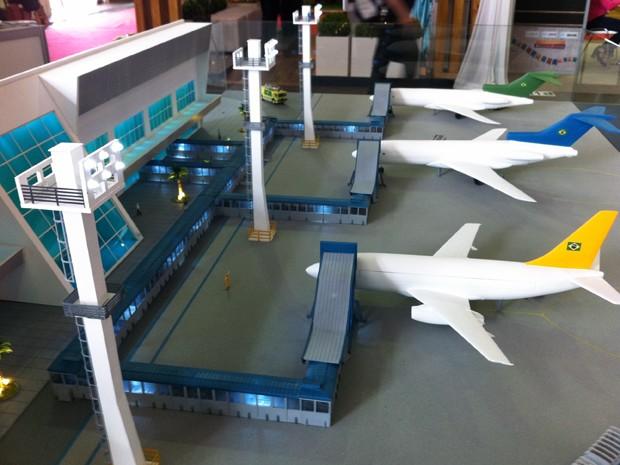 Maquete do Aeroporto de Palmas, onde o Mamuth está em fase de testes (Foto: Felipe Truda/G1)