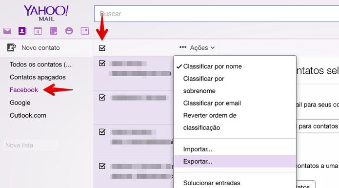 Exportando contatos do Facebook pelo Yahoo (Foto: Reprodução/Helito Bijora)