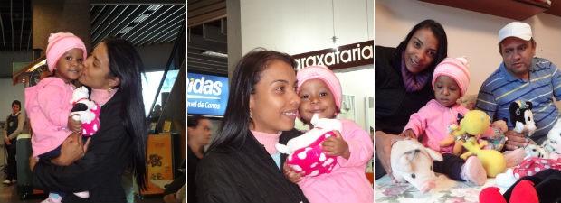 Família chegou a Curitiba neste sábado (7) (Foto: Adriana Justi / G1)