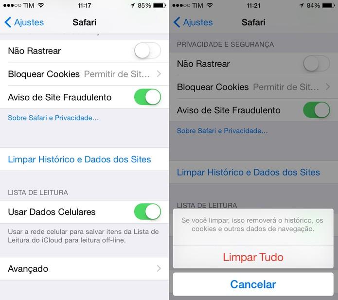 Limpe o histórico e dados do Safari para acelerar o desempenho do iPhone (Foto: Reprodução/Juliana Pixinine)