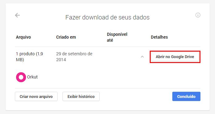 Arquivos do Takeout podem ser exportados diretamente para o Google Drive (foto: Reprodução/Google Takeout)