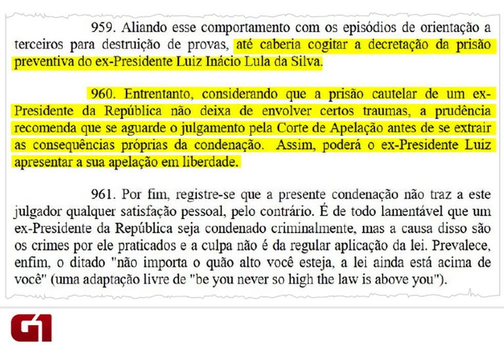 Sentença prisão Lula (Foto: Reprodução/G1)
