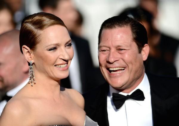 A atriz Uma Thurman com o pai de sua filha, o empresário Arpad Busson (Foto: Getty Images)
