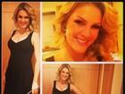 Grávida, Ana Hickmann exibe barriguinha discreta em vestido preto