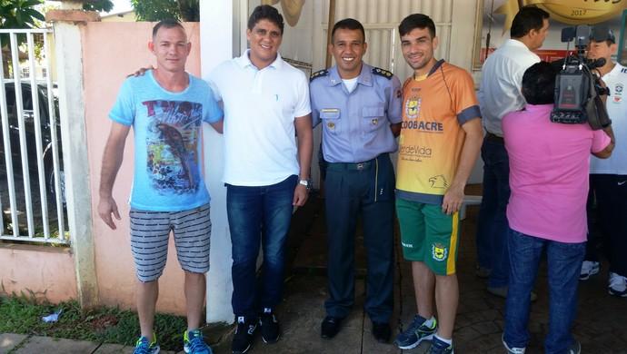 Pé de Ferro, Elison Azevedo, Edener Franco e Kinho, representantes Atlético-AC e Galvez (Foto: Duaine Rodrigues)