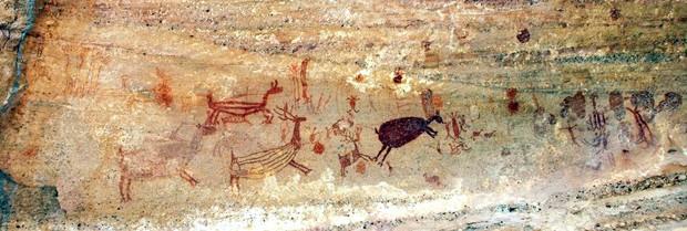 Sequência de pintura é vista em caverna do Piauí. (Foto: AFP Photo/Joaquim Neto - FUMDHAM)