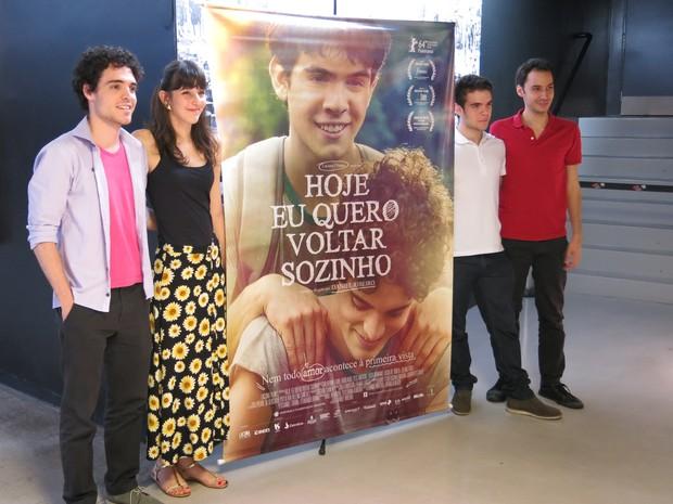 Fabio Audi, Tess Amorim, Ghilherme Lobo e o diretor Daniel Ribeiro (Foto: Célio Silva/G1)