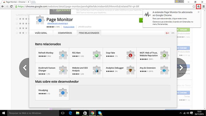 Page Monitor para Google Chrome insere botão na barra de endereços para que usuário siga páginas (Foto: Reprodução/Elson de Souza)