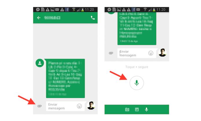 Acessando a ferramenta de envio de mensagens de voz do aplicativo Messenger do Google (Foto: Reprodução/Marvin Costa)