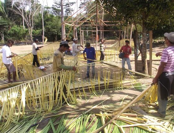 Mutirão comunitário para construir uma casa na Reserva Extrativista Guariba-Roosevelt, em Mato Grosso (Foto: Emerson de Jesus/Pacto das Águas)