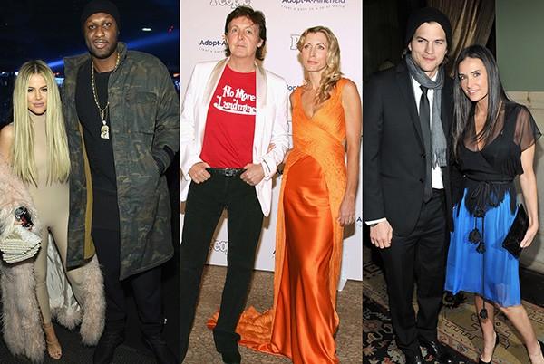 Khloe Kardashian e Lamar Odom, Paul Mccartney e Heather Mills, Ashton Kutcher e Demi Moore (Foto: Getty Images)