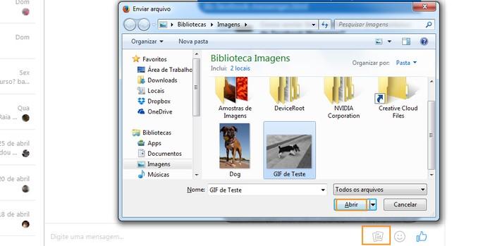 Encontre e abra o GIF salvo no computador pelo mensageiro (Foto: Reprodução/Barbara Mannara)