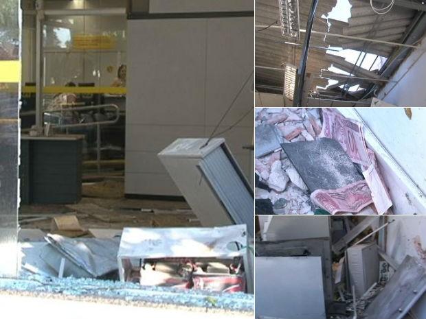 Seis caixas foram explodidos em duas agências de Japurá, no noroeste do Paraná (Foto: Reprodução RPC TV)