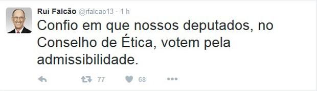 Rui Falcão se manifestou no Twitter sobre a votação do relatório preliminar do processo de cassação de Cunha (Foto: Reprodução / Twitter)