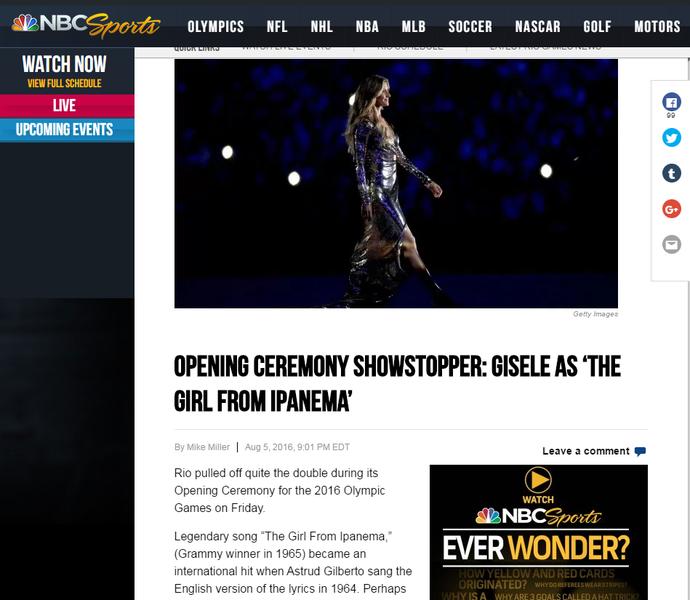 repercussão internacional, cerimônia de abertura, nbc (Foto: Reprodução / NBC)