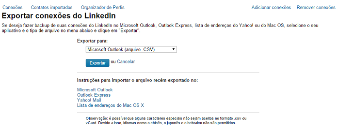 LinkedIn recolocou ferramenta de exportar dados no ar (Foto: Reprodução/Thiago Barros)